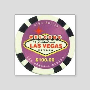 Las Vegas Poker Chip Square Sticker