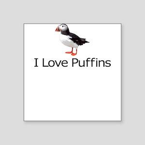 I Love Puffins Square Sticker