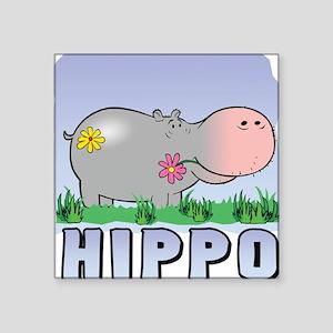 Happy Hippo Square Sticker
