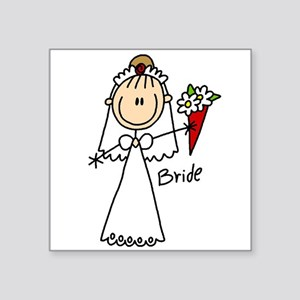 Stick Figure Bride Square Sticker