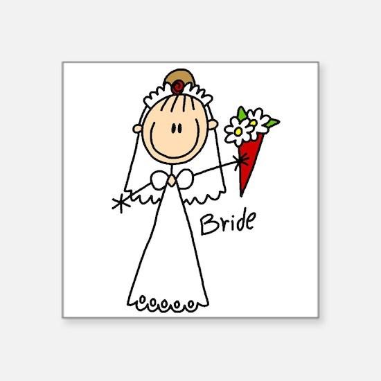 Stick Figure Bride Square Sticker
