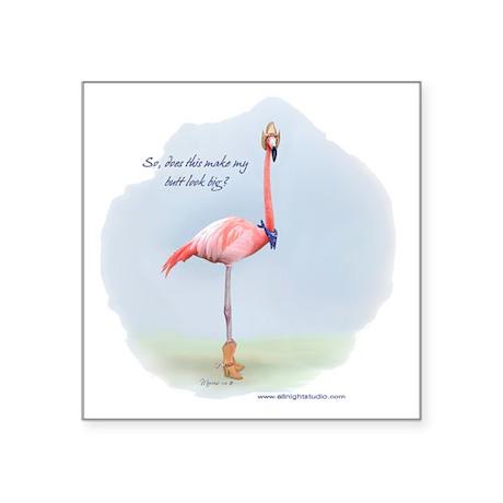 Cowboy Flamingo Square Sticker