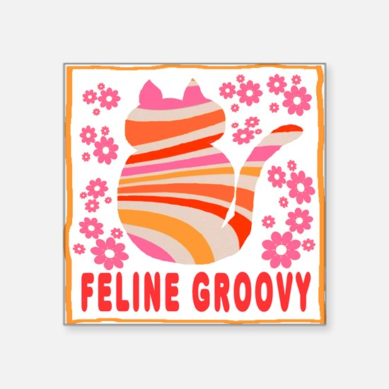 Feline Groovy (orange/pink) Square Sticker