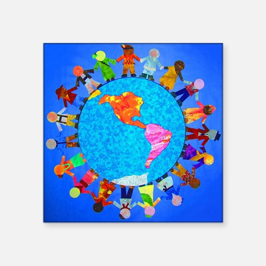 Peaceful Children around the World Square Sticker