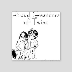 Proud Grandma of Twins BG Square Sticker