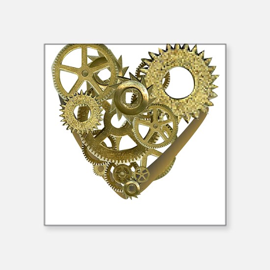 Steampunk Heart Square Sticker