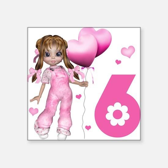 Girl Hearts 6th Birthday Square Sticker