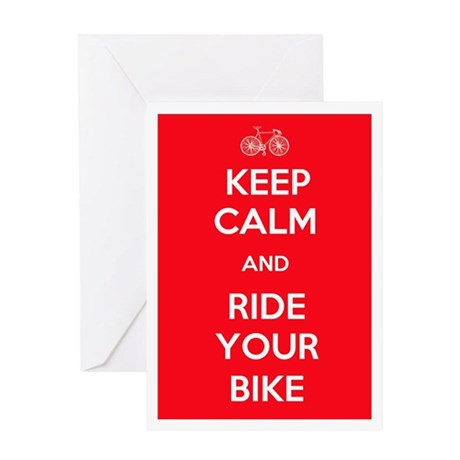 Keep Calm and Ride Your Bike Red Greeting Card