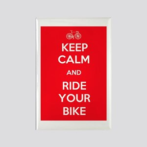 Keep Calm and Ride Your Bike Red Rectangle Magnet
