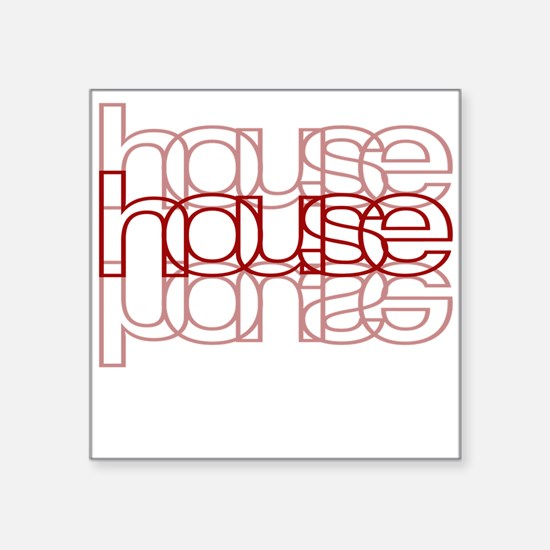 House 3 Red Square Sticker