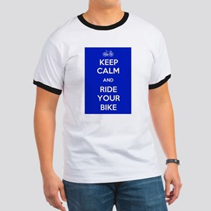 Keep Calm and Ride Your Bike Blue Ringer T