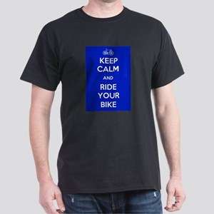 Keep Calm and Ride Your Bike Blue Dark T-Shirt