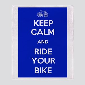 Keep Calm and Ride Your Bike Blue Throw Blanket
