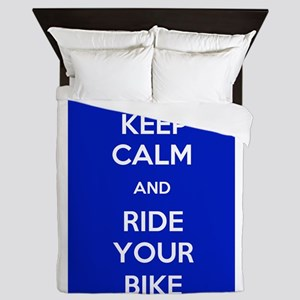 Keep Calm and Ride Your Bike Blue Queen Duvet