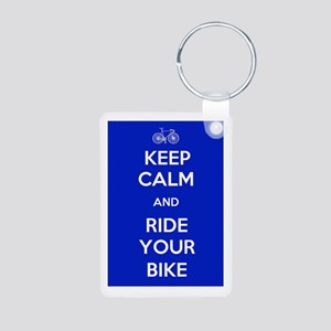 Keep Calm and Ride Your Bike Blue Aluminum Photo K
