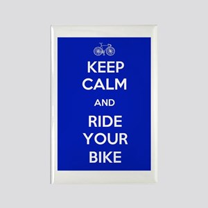 Keep Calm and Ride Your Bike Blue Rectangle Magnet
