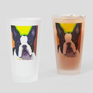 Black & White French Bulldog Drinking Glass