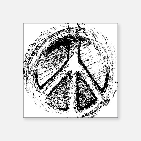 Urban Peace Sign Sketch Square Sticker