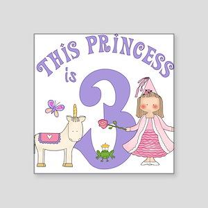 Unicorn Princess 3rd Birthday Square Sticker