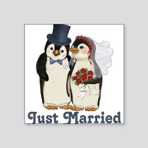 Penguin Wedding - Just Married Square Sticker