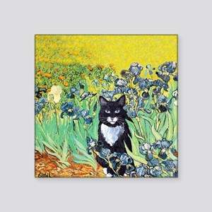 Irises & Cat Square Sticker
