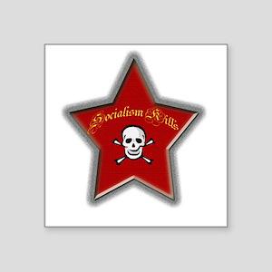 Socialism Kills Square Sticker (white)