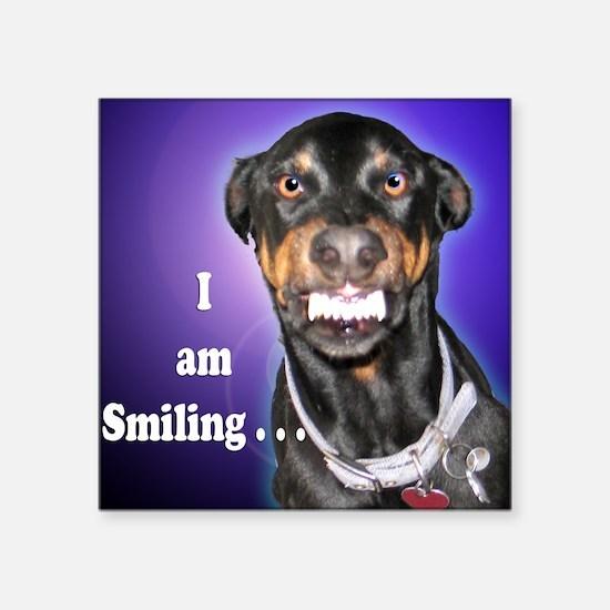 Doberman Pinscher Smiles Square Sticker