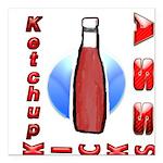 Ketchup Kicks Ass Square Car Magnet 3