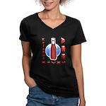 Ketchup Kicks Ass Women's V-Neck Dark T-Shirt