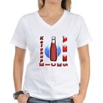 Ketchup Kicks Ass Women's V-Neck T-Shirt