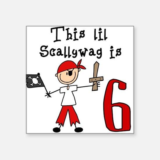 Stick Pirate 6th Birthday Square Sticker