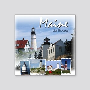 Maine Lighthouses Square Sticker