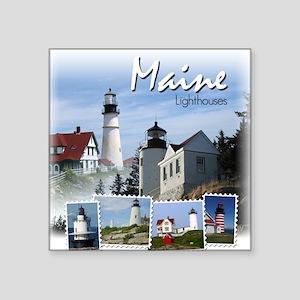 Maine Lighthouses Square Sticker