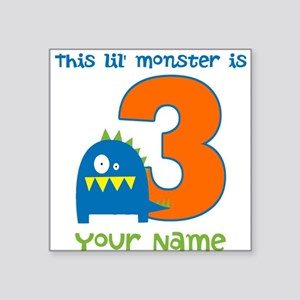 3rd Birthday Monster Square Sticker