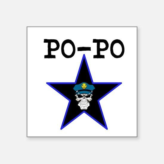 """PO-PO"" Skull & Star Square Sticker"