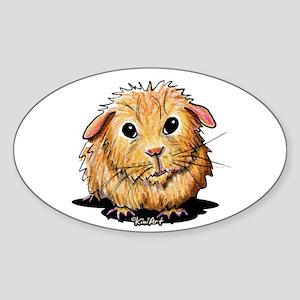 Golden Guinea Pig Sticker (Oval 10 pk)