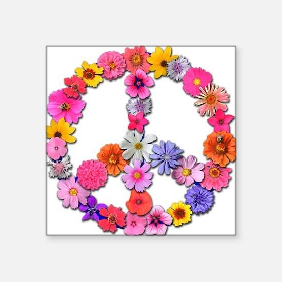 Peace Flowers Square Sticker