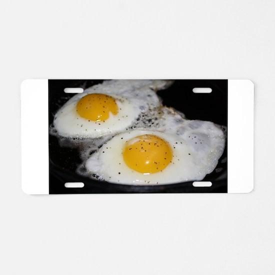 Fried Eggs eggs over easy Aluminum License Plate