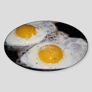 Fried Eggs eggs over easy Sticker (Oval)