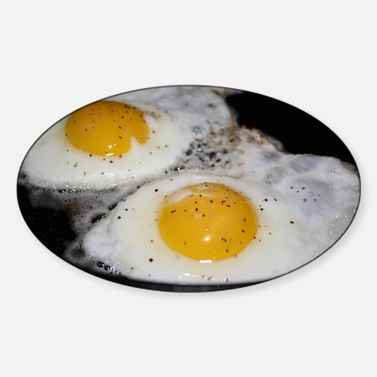 Fried Eggs eggs over easy Sticker (Oval)
