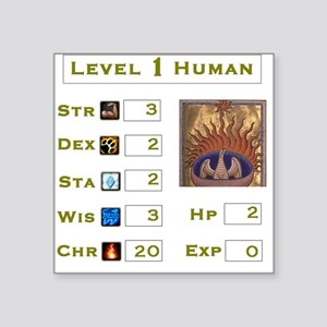 Level 1 Human Square Sticker