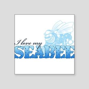 I Love My Seabee Square Sticker