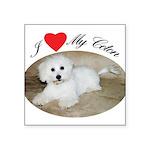 I heart my Coton Square Sticker