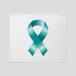Teal Ribbon Throw Blanket