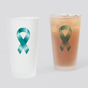 Teal Ribbon Drinking Glass