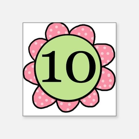 10 Pink Green Flower Square Sticker