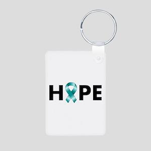 Teal Ribbon Hope Aluminum Photo Keychain