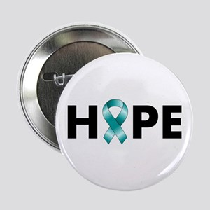 """Teal Ribbon Hope 2.25"""" Button"""