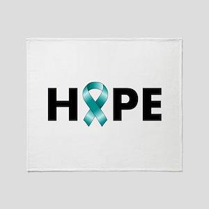 Teal Ribbon Hope Throw Blanket