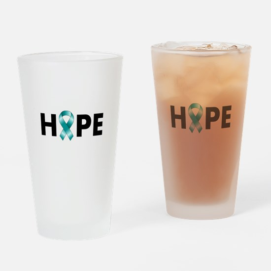 Teal Ribbon Hope Drinking Glass
